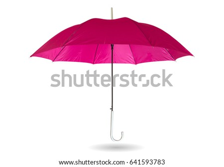 Pink umbrella isolated on white background with clipping path. #641593783