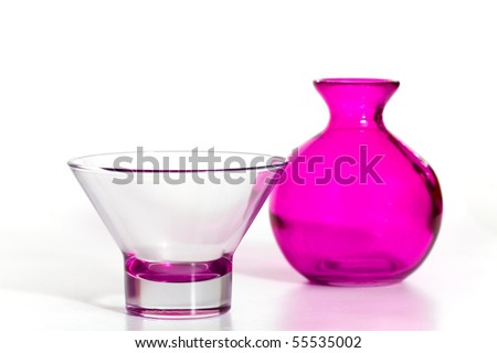 Pink Vase and Cup on the white Background