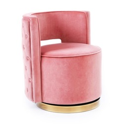 Pink Velvet Swivel Slipper Chair with Tufted Back Isolated on White. Side View Modern Accent Arm Chair. Lounge Armchair with Upholstered Wings Armrests. Interior Furniture