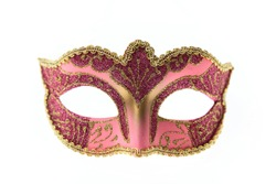 Pink Venetian carnival mask isolated on white background, front view