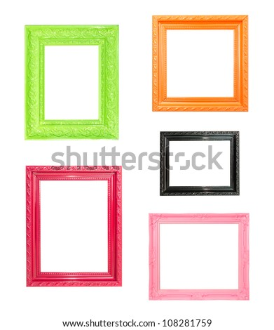 Pink Vintage picture frame, wood plated, blue wood background, clipping path included