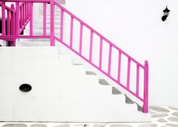 pink Vintage stair from building Greek style