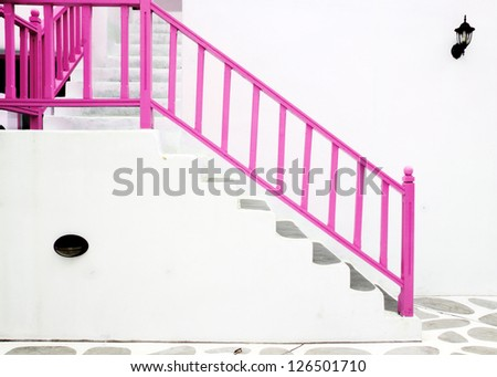 pink Vintage stair from building Greek style - stock photo