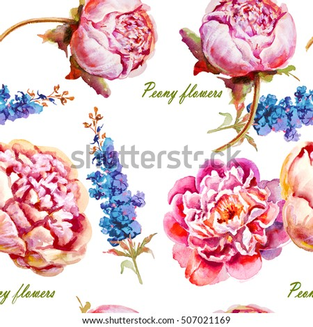 Pink, violet peony watercolor, bud. Seamless pattern #507021169