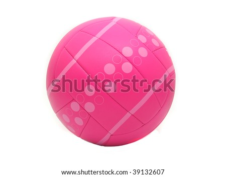 Pink Volleyball on White Background