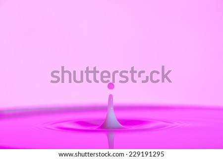 pink water splash with white background