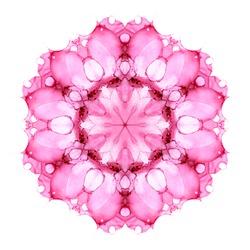 Pink watercolor flower mandala isolated on white background. Kaleidoscope effect.