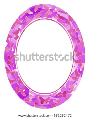 Stock Photo pink watercolor frame with butterflies