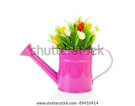 Pink watering can with plastic tulips over white background