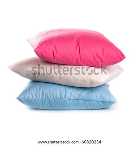 pink, white and blue pillows isolated on white background
