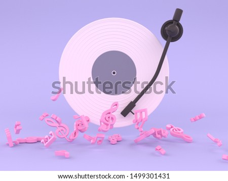 pink white vinyl disc music concept 3d rendering purple background