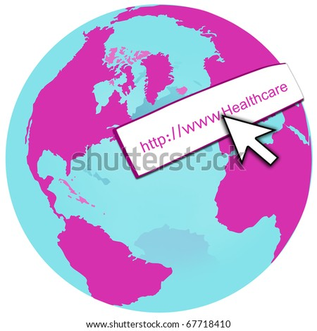 stock photo : Pink World Globe with White Arrow Pointing to Web Internet ...