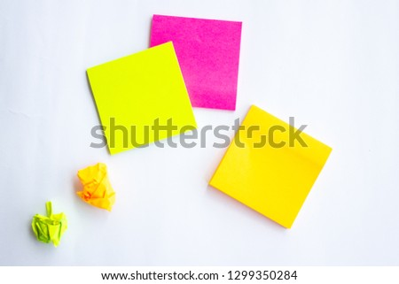 Pink yellow and green post it note sticky note #1299350284