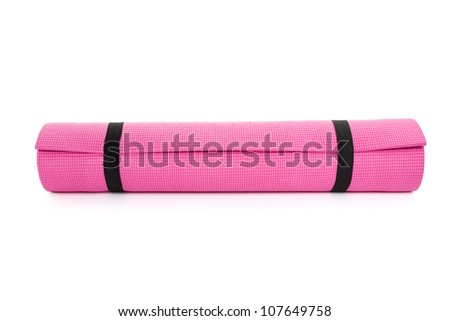 Pink Yoga Mat with White Background