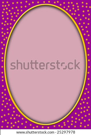 pinkt frame with little stars and a oval frame for content to be added