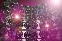 Pinky and Flashy Disco Party Background - 3D Rendered Speakers Wall Disco Party Background Illustration.
