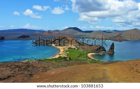 Pinnacle Rock, Island of Bartolome, Galapagos - stock photo