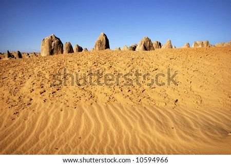 Pinnacles desert in Western Australia - stock photo