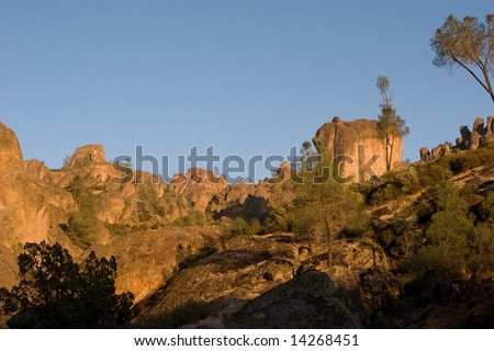 Pinnacles National Monument is a protected mountainous area located east of central California's Salinas Valley. The Monument's namesakes are the eroded leftovers of half of an extinct volcano.
