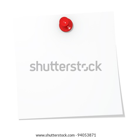 Pinned notice paper isolated on white background with workpath