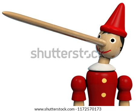 Pinocchio Long Nose Character Wooden Doll. Clipping path included. 3D illustration.