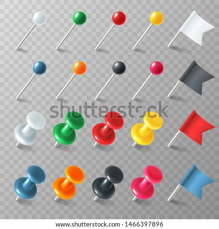 Pins flags tacks. Colored pointermarker pin flag tack pinned board pushpin organized announcement, color realistic set
