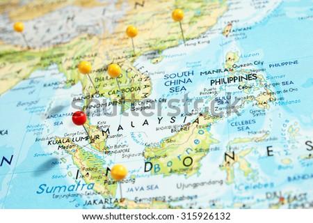 Pins on map with focus on Kuala Lumpur city, Malaysia #315926132