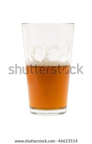 Pint of beer, ale, lager  on white background half empty