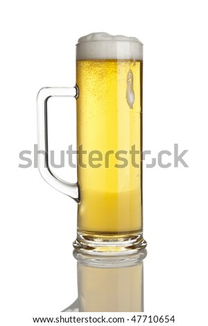 pint of fresh lager beer, froth running down, isolated on white background
