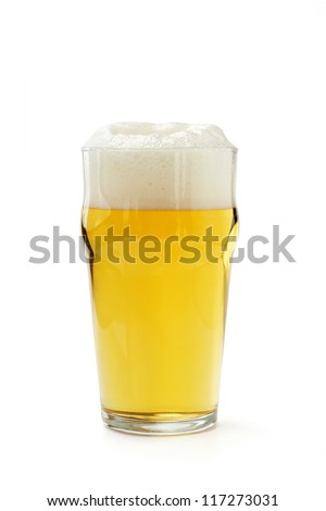 pint of lager beer isolated on white background