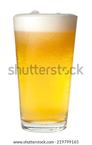 Pint of light beer on white background Stock fotó ©