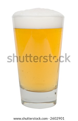 Pint of light beer with froth with clipping path
