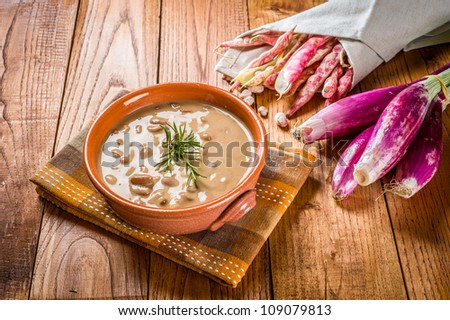 Pinto Beans soup - typical italian dish with red onion of tropea