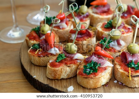 Shutterstock pintxos, tapas, spanish canapes party finger food