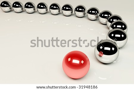 Pioneer - red ball leading the others