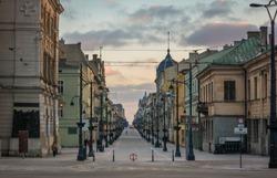 Piotrkowska street in Lodz city, Lodzkie, Poland
