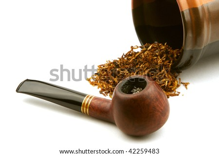 pipe and tobacco isolated on white background.