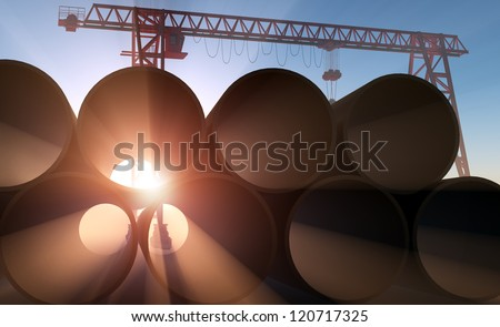 Pipe at a construction site in the sunlight.