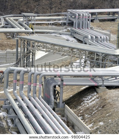 pipe line in petrochemical plant at winter