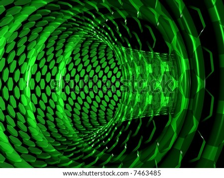 stock photo : Pipe of polygons in black space. Green abstract background.