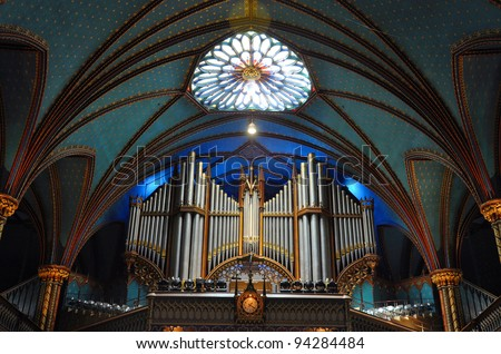 Pipe Organ of Montreal Notre-Dame Basilica (French: Basilique Notre-Dame de Montreal), Montreal, Quebec, Canada - stock photo