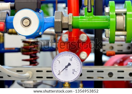 Pipe water pipeline input unit with pressure gauges #1356953852