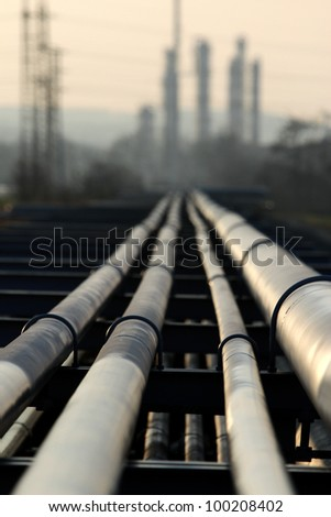 pipe with crude oil going to refinery