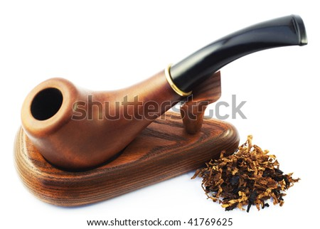 Pipe with tobacco.Isolated on white background.