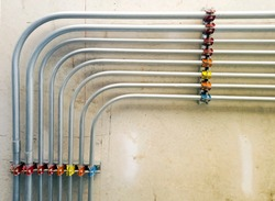 Pipeline for electrical wire that install at ceiling.While the building is under constructiion