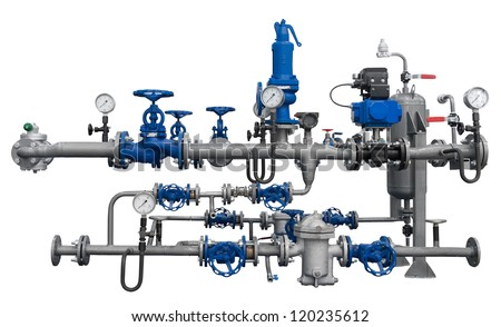 Pipeline fragment with devices isolated. Detailed clipping path included.