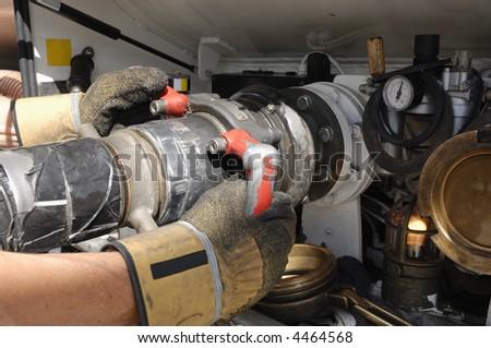 pipeline nozzle for fuel oil-tanker, close-ups