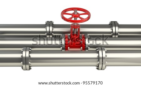 Pipeline Stopcock isolated on wihte background High resolution 3D