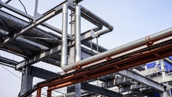 Pipeline system in an industrial enterprise, background.
