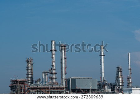pipelines and towers of oil and gas refinery petrochemical factory